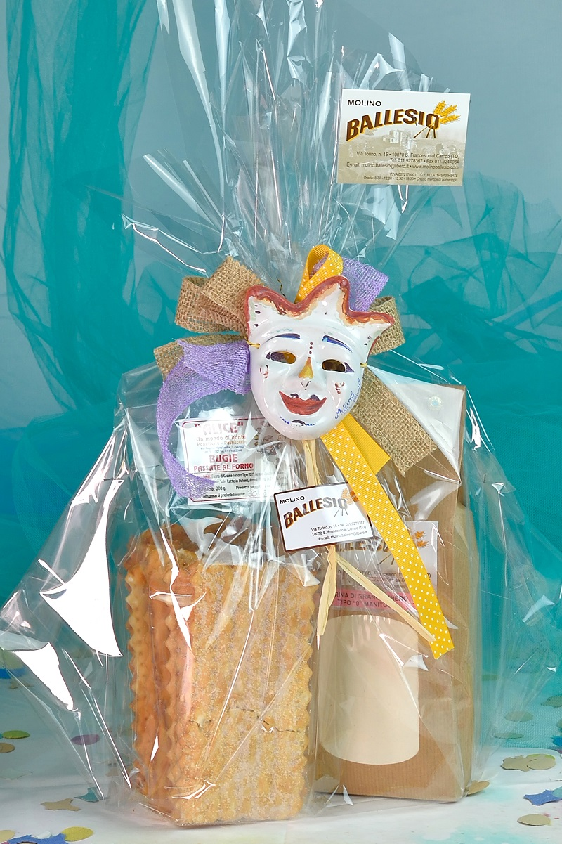 idea regalo con mascherina, farina e bugie Molino Ballesio